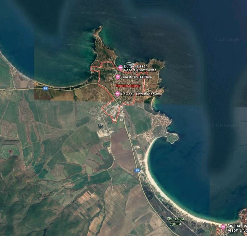 Карта Черноморец и плажовете